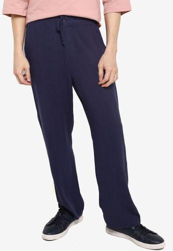 ZALORA BASICS navy Linen Blend Drawstring Pants 17226AAB35A3FEGS_1