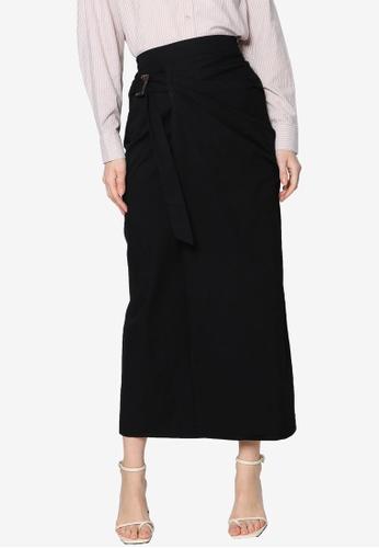 ZALIA BASICS black Front Wrap Skirt F7558AAC9981E9GS_1