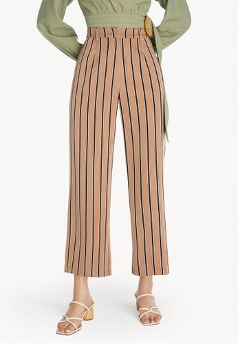 Pomelo brown Striped Wide Leg Pants - Brown 8580FAA28B807FGS_1