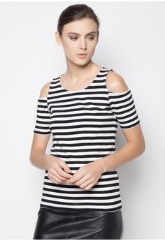 Cutout Shoulder Stripes Top