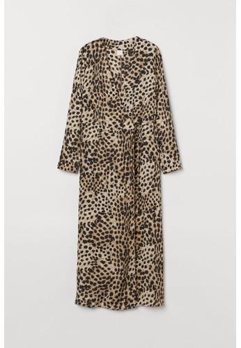H&M beige Calf-length wrap dress E5DEFAA786B513GS_1