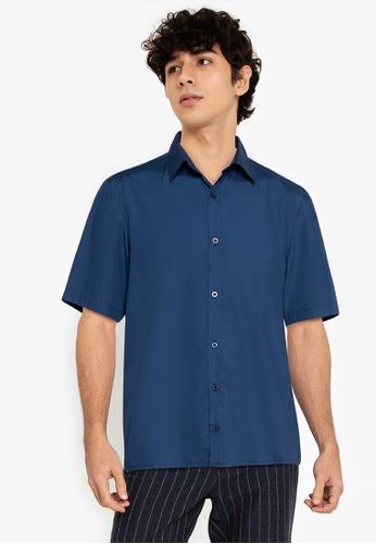 ZALORA BASICS blue Drawstring Short Sleeve Shirt F5E4CAA8BD1D7DGS_1