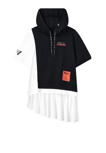FILA navy FILA x Maison MIHARA YASUHIRO Logo High-low Hem Cotton Hooded Top 34F0BAAC13A5A1GS_1