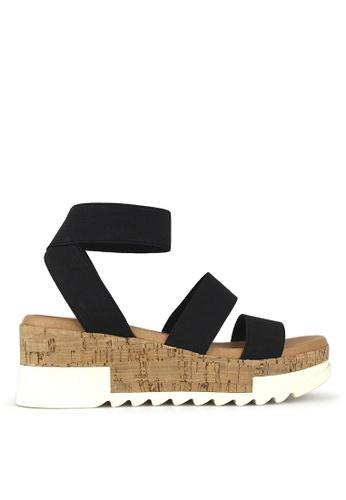 Betts black Bandit Cork Wedge Sandals 007CDSHAD82F55GS_1