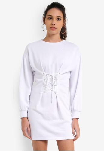 Something Borrowed white Tie Front Sweater Dress 2DA7EZZF435865GS_1