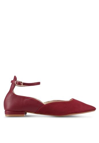 ZALORA red Two-Tone Ankle Strap Flats 8A29ESH25E7810GS_1