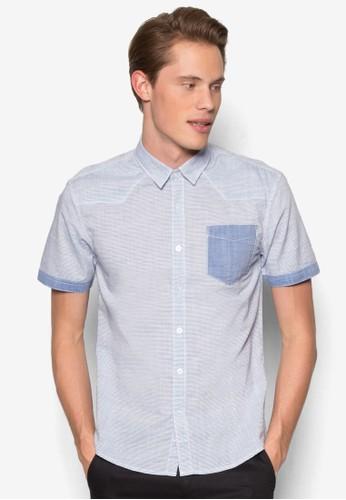 拼色條紋短esprit服飾袖襯衫, 服飾, 印花襯衫