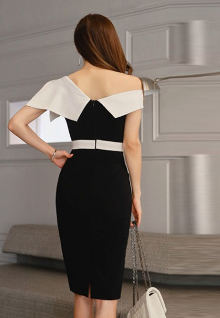 Shoulder Repair Off 2018 Piece Sheath Style A060424 Sunnydaysweety Black New Waist Dress One Axwwqp1Y