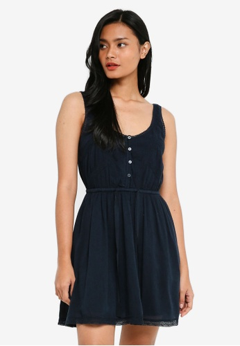 Abercrombie & Fitch navy Lace Pieced Tank Easy Waist Dress AB5E8AA9F73664GS_1