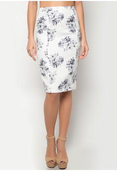 Ladies' Smudge Print Pencil Skirt