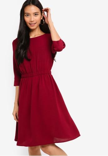 ZALORA red 3/4 Sleeves Pocket Dress B2A84AAAD6F9CEGS_1