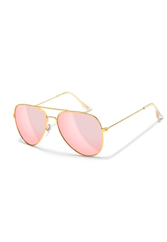 Sensolatino Eyewear black and grey and brown and red and pink and orange and yellow and green and blue and purple and silver and beige and gold and navy Sensolatino® Series Aviano Large Gold Frame With Fuchsia Polarized Lenses 859C5GLA18F76EGS_1
