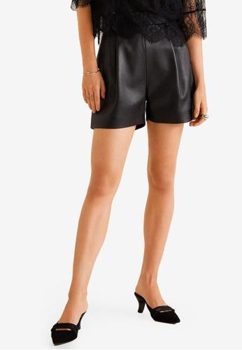 Mango black High-Waist Leather Shorts 3753FAAC44A395GS_1