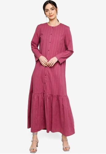 ZALIA BASICS purple Basic Placket Dress 63D66AA2855F22GS_1