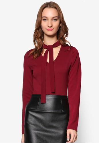 繫帶zalora 衣服尺寸領羅紋長袖連身衣, 服飾, 服飾
