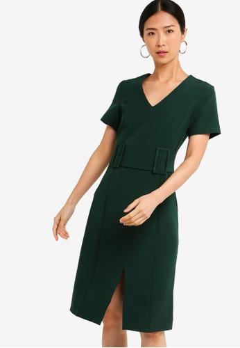 ZALORA BASICS green Basic Pencil Dress With Double Buckle 82736AA04204C3GS_1