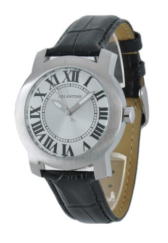 EGLANTINE silver EGLANTINE® Emile Unisex Steel Quartz Watch on Leather Strap 44918AC17132A5GS_1