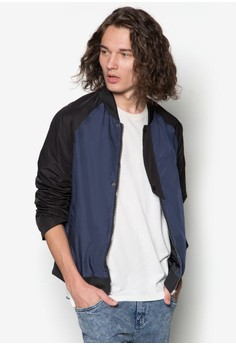 Side Mesh Zipped Up Bomber Jacket