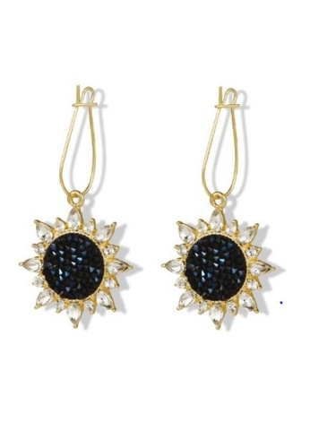 Atrireal blue and gold ATRIREAL - Midnight Sunflower Blue Druzy Earring FFE6CAC23A263AGS_1