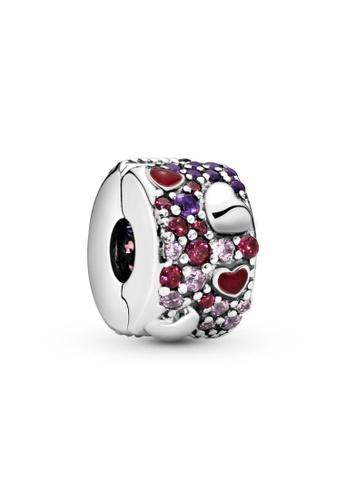 PANDORA silver Pandora Asymmetrical Hearts Pavé Clip Charm A63D9AC77D0581GS_1