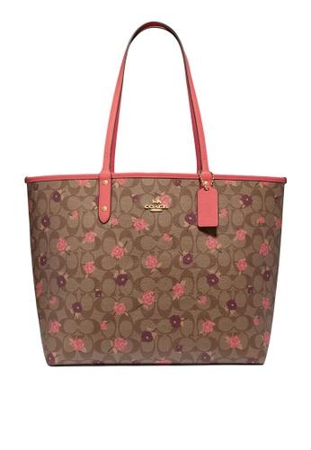 Coach brown and pink Reversible City Tote Bag (cv) 902EFAC7A5EA89GS_1