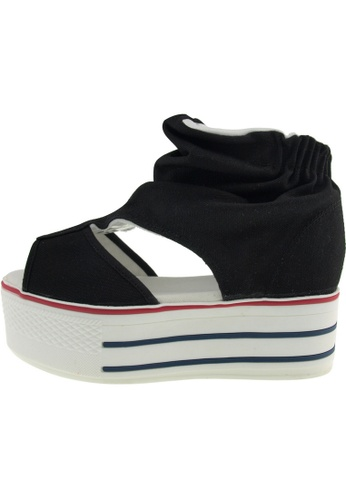 Maxstar Maxstar Women's C50 Open Toe Elastic Ankle Platform Canvas Sandals US Women Size MA168SH59EVCHK_1