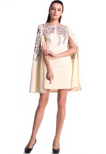 DreamTales Wardrobe beige Floral Embroidered Details Cape Dress 87FECAAC9A2583GS_1