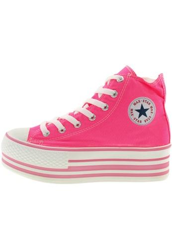 Maxstar 粉紅色 新款韩国鞋C50-7H-Flu時尚帆布布混合女粉紅色 US Women Size MA345SH94GTLTW_1