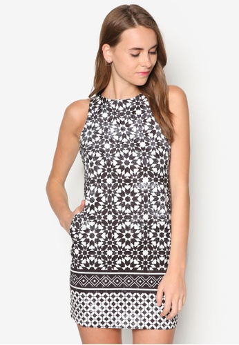 ZALORA black and white Collection Printed Sleeveless Shift Dress 39838AAD85BE82GS_1
