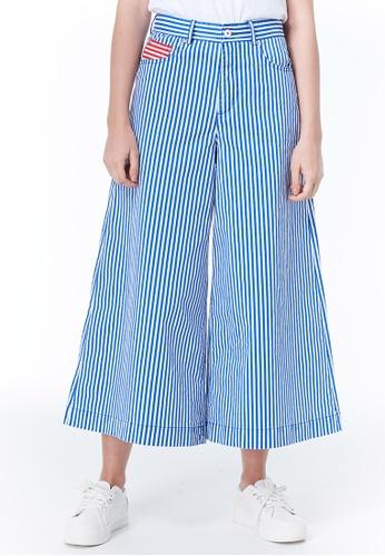 United Colors of Benetton blue Striped Wide Leg Pants 007F6AA308D5BDGS_1