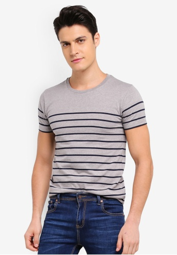 Penshoppe grey Striped T-Shirt A8587AA2CD89BEGS_1
