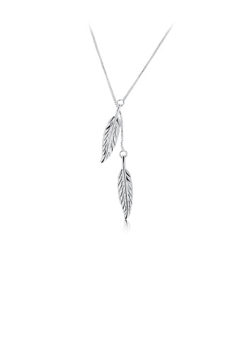 Glamorousky silver Simple Double Leaf Pendant with Necklace B11C4ACF40394DGS_1