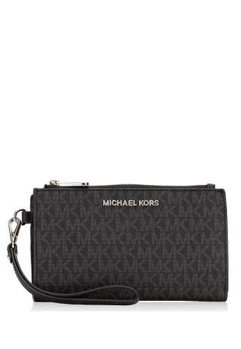 MICHAEL KORS black Michael Kors Jet Set Travel Large Double Zip Wristlet In Signature - Black F920FACDAA191AGS_1