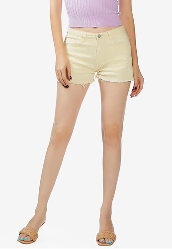 London Rag yellow Light Yellow Raw Hem Denim Shorts E230EAAEECFF67GS_1