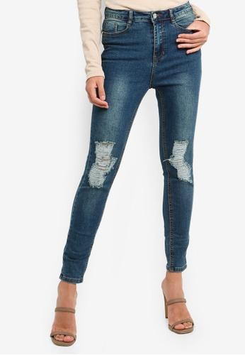 MISSGUIDED blue Petite Sinner Distress Knee Jeans 7E529AA8E22B68GS_1