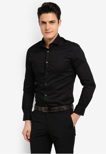 G2000 black Dot Textured Long Sleeve Shirt 6B720AA6BEEF4CGS_1