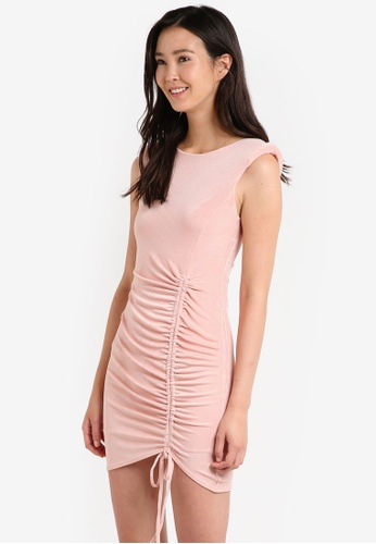 Miss Selfridge pink Petite Ruched Bodycon Dress MI665AA12JYHMY_1