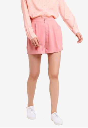 ZALORA BASICS pink Basic Button Front Pleat Shorts 8B9D8AAB052671GS_1