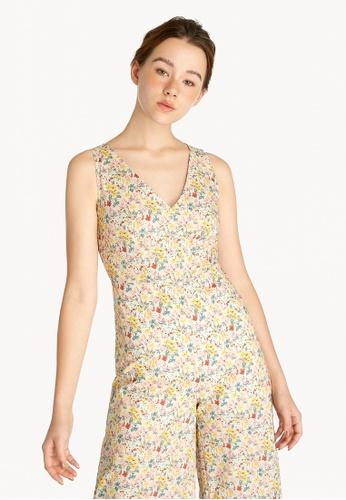 Pomelo multi Floral Surplice Jumpsuit - Cream 73E85AA9512808GS_1