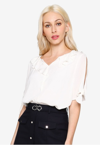 Hopeshow white Knot Cuff Split Sleeve V-Neck Blouse 6A49EAA7F425DBGS_1