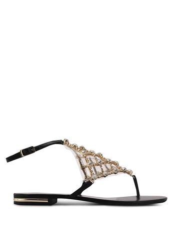 Nose black Gold Stone Ankle Strap Sandals 1CF9ESH0194C92GS_1
