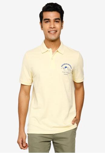 Jack & Jones yellow and beige Kaipo Short Sleeve Polo Shirt 3B24CAA9043374GS_1