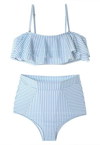 Halo blue (2pcs) Stripe Pattern Bikini Swimsuit 59B55US617828DGS_1
