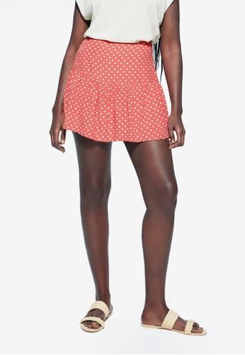 Violeta by MANGO pink Plus Size Polka Dot Frill Mini Skirt F3CDEAAB988C21GS_1