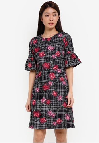 Dorothy Perkins grey Floral And Check Shift Dress DO816AA0RSOQMY_1
