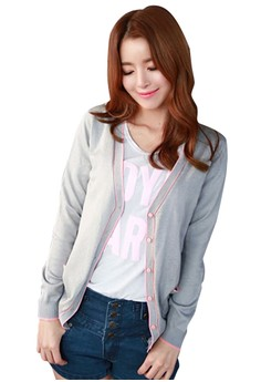 Contrasting Lines Knit Cardigan