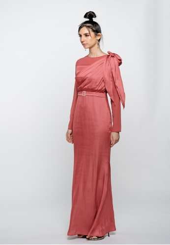 3thelabel red Morrighan Rosewood Shoulder Draped Dress 44FEDAA9ACB15AGS_1