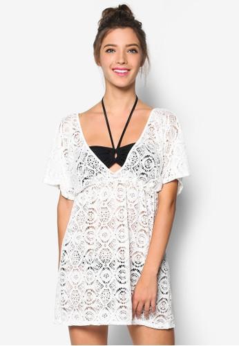 Dana 低胸蕾絲沙灘罩衫, 服飾, 泳褲及沙灘esprit童裝門市造型