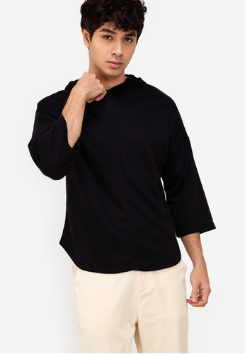 ZALORA BASICS black Three Quarter Sleeve Hoodie B7085AA9BCE366GS_1