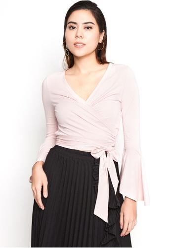 Nichii pink Bell Sleeves Wrap Crop Top F0CA7AA827F8DCGS_1